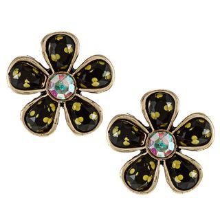 Betsey Johnson Cubic Zirconia Polka Dot Flower Stud Earrings