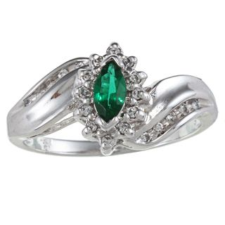 Sterling Essentials Sterling Silver Marquise cut Green Cubic Zirconia