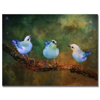Lois Bryan Three Little Blue Birds Canvas Art