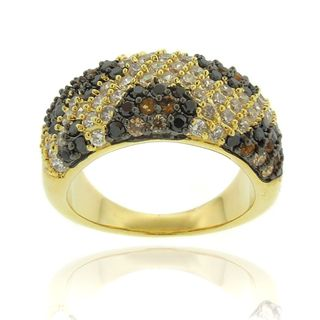Silver Overlay Cubic Zirconia Leopard Print Ring