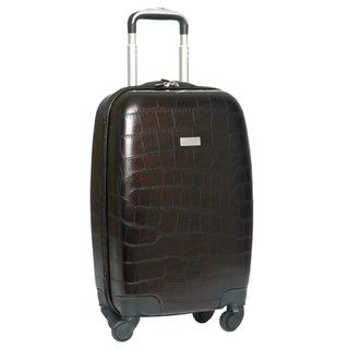 Ellen Tracy Chocolate Venezia Croco Embossed 20 inch Hardside Carry on