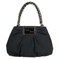 Fendi 8BR615 Small Black Canvas Shopper Bag