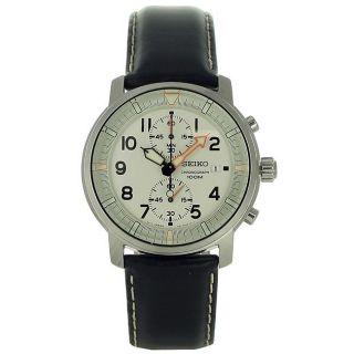 Seiko Mens Chronograph Black Leather Strap Watch