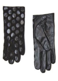 Mango Womens Polka Dot Leather Gloves   Polka C, Black, S