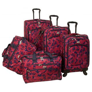 American Flyer Red Rose 5 piece Red Expandable Spinner Luggage Set See