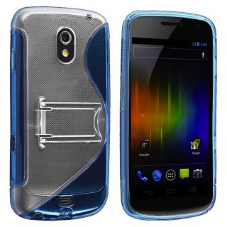 Blue S Shape TPU Rubber Case with Stand for Samsung Galaxy Nexus i9250