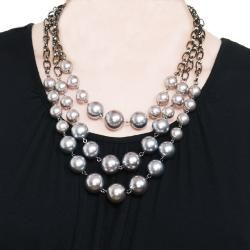 Grey Faux Pearl Bib Necklace