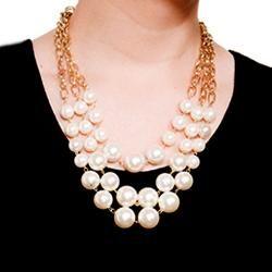 Goldtone Cream Color Faux Pearl Bib Necklace
