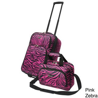 Traveler US7402Z 2 piece Exotic Zebra Print Carry on Luggage Set
