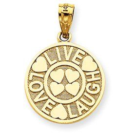 14k Gold Live Love Laugh Circle Pendant Jewelry