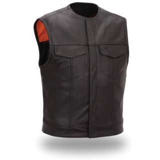 First Classics Mens Black Leather Snap front Motorcycle Vest