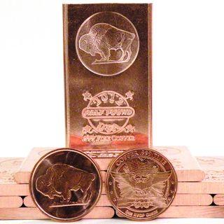 Half Pound 999 Pure Copper Bullion Bar and 2 Coin Set