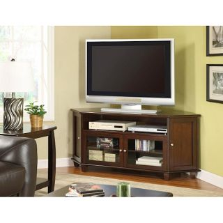 Dark Walnut Veneer 60 inch Corner TV Stand