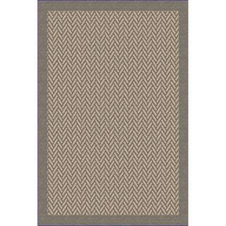 Woven Indoor/ Outdoor Herringbone Grey/ Beige Patio Rug (53x76