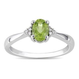Miadora Sterling Silver Oval Peridot and Diamond accented Ring