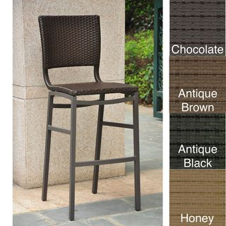 Barcelona Resin Wicker Outdoor Bar Height Stools (Set of 2