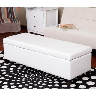 Warehouse of Tiffany Sharon Faux Leather Storage Bench in Whtie