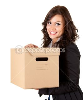 Businesswoman keeping cardboard box  Stock Photo © Marcin Sadlowski