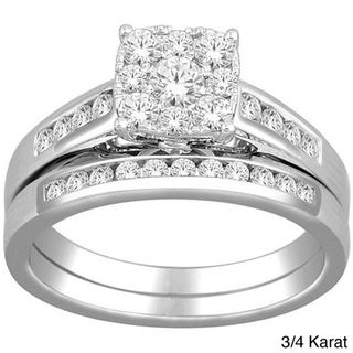 10k White Gold Imperial Diamond Bridal Ring Set