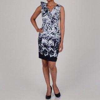 Marina Womens Floral Print Rosette Shoulder Detailed Dress