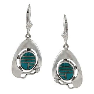 Southwest Moon Sterling Silver Turquoise Inlay Leverback Earrings