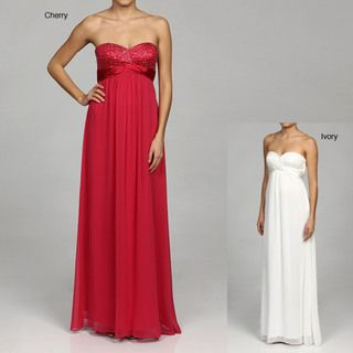 Hailey Womens Strapless Beaded Bust Chiffon Dress