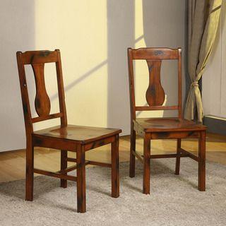 Dark Oak Wood Dining Chairs (Set of 2)