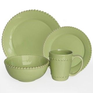 American Atelier Bianca Beaded Verde 16 pc Dinnerware Set