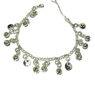 Silver Tone Anklet With Bells and Ying Yang Charms