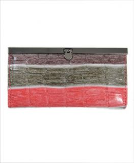 Retro Style Crocodile Skin Faux Leather Purse Clutch, Red