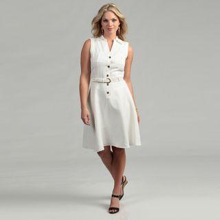 Tahari ASL Womens Ivory Sleeveless Shirt Dress
