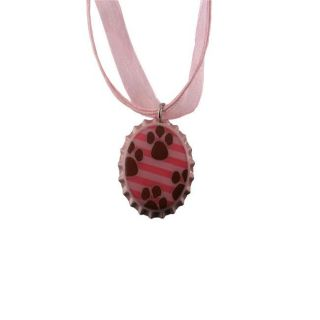Bow Clippeez 2 Envy Pink Striped Brown Paw Prints Bottle Cap Necklace