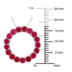 10k Gold July Birthstone Small Prong set Created Ruby Circle Necklace