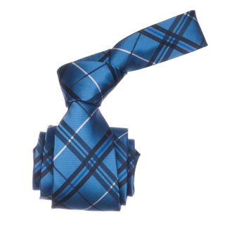 Republic Mens Blue Plaid Microfiber Neck Tie