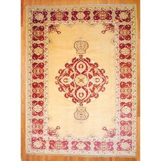 Afghan Hand knotted Vegetable Dye Ivory/ Red Wool Rug (106 x 134