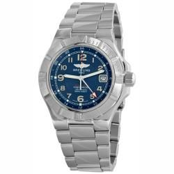 Breitling Mens Colt GMT Stainless Steel Blue Face Watch