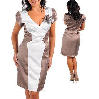 Stanzino Womens Plus Mocha/ White Satin Colorblocked Dress
