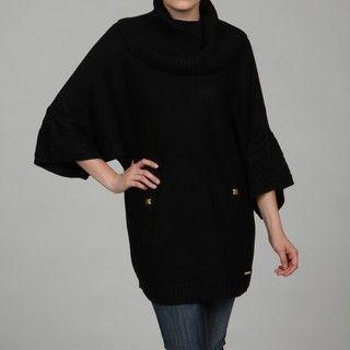 Calvin Klein Womens Black Horizontal Cape Sweater