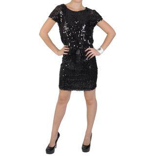 Sangria Womens Blouson Waist Scoop Neck Sequined Dress
