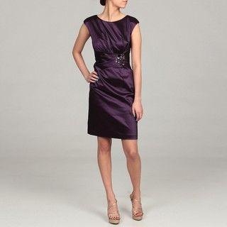 Eliza J Womens Eggplant Beaded Ruched Dress