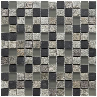 Somertile 12x12 in Granstone Fauna 1 in Verde Stone/ Glass Mosaic Tile