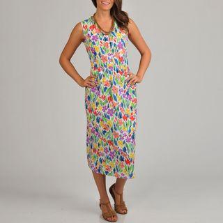 La Cera Womens Floral Print Scallop V Neck Empire Waist Dress