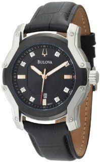 Bulova Mens 98D117 Diamond Black Dial Strap Watch Watches