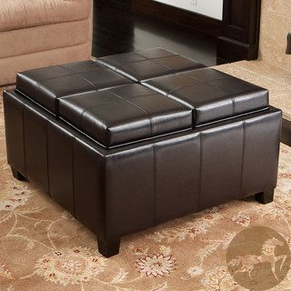 Christopher Knight Home Mason Bonded Leather Espresso Tray Top Storage