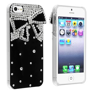 BasAcc Black with Diamond Ribbon Snap on Case for Apple iPhone 5