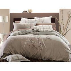 Embroidered Bamboo 3 piece Full/ Queen size Duvet Cover Set Today $74