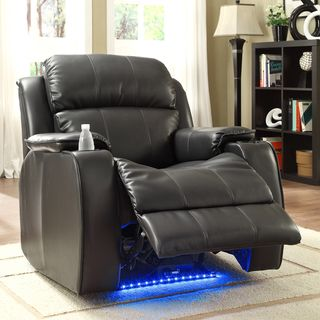 Garrett Power Recliner Black Bonded Leather Chair