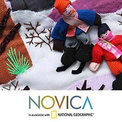 Cotton Winter Wonderland Applique Christmas Stocking (Peru