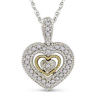 Miadora 10k Two tone Gold 1/10ct TDW Diamond Heart Necklace