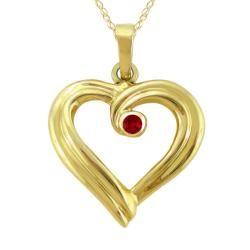 10k Gold January Birthstone Garnet Ribbon Heart Necklace